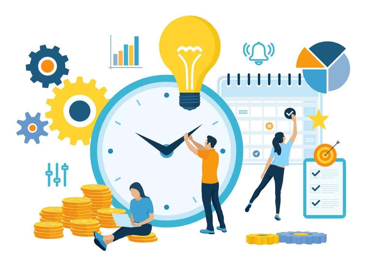 Projektinhallintaa kuvaava kuva, jossa mm. aikataulu, rahaa, kello, rattaita, hälytyksiä, check-lista.