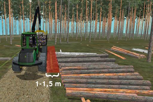 Koneen sopiva etäisyys pinon reunasta on 1–1,5 metriä.