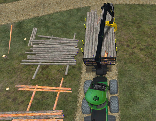 Pohjapuut tasoittavat varastopinon pohjaa.