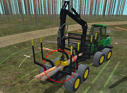 Jätä työpisteen viimein taakka kouraan. Avaa koura ja tiputa puut kuormatilaan vasta seuraavalla työpisteellä.